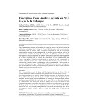 Conception d'une Archive ouverte en SIC : le sens de la technique