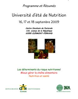 Université d'été de Nutrition Université d'été de Nutrition - ProdINRA