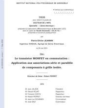 Le transistor MOSFET en Commutation: Application aux Associations Série et Parallèle de Composants à grille isolée.