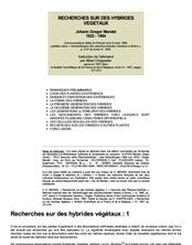 Recherches sur des hybrides végétaux