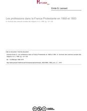 Les professions dans la France Protestante en 1868 et 1893 - article ; n°1 ; vol.5, pg 121-139