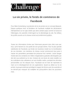 La vie privée, le fonds de commerce de Facebook