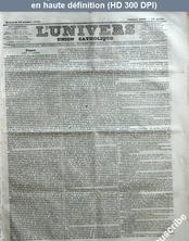 L' UNIVERS  numéro 1069 du 22 octobre 1843
