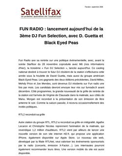 article du 23 septembre 2009 - FUN RADIO : lancement aujourd'hui de la 3ème DJ Fun Selection, avec D. Guetta et Black Eyed Peas
