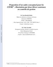 Proposition d'un cadre conceptuel pour les CIFRE : illustration par deux thèses soutenues en contrôle de gestion