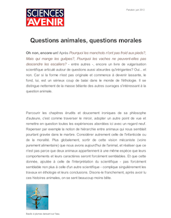 Questions animales, questions morales