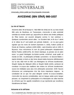 AVICENNE (IBN SĪNĀ) 980-1037