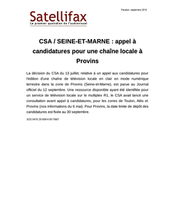 article du 14 septembre 2010 - CSA / SEINE-ET-MARNE : appel à candidatures pour une chaîne locale à Provins