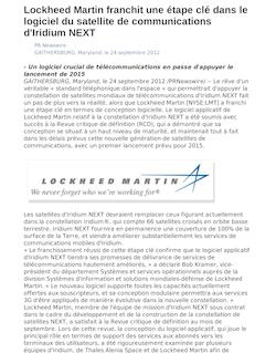 Lockheed Martin franchit une étape clé dans le logiciel du satellite de communications d'Iridium NEXT