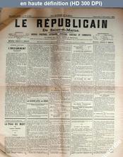 LE REPUBLICAIN DE SEINE ET MARNE  numéro 1344 du 07 décembre 1884