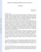 Pratiques et représentations linguistiques en Guyane - regards croisés. Introduction