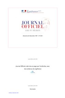 Journal officiel n°301 du 28 décembre 1997