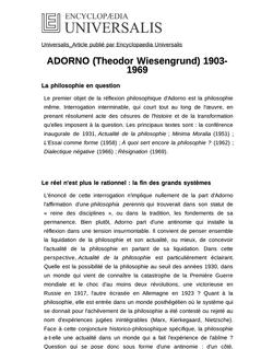 ADORNO (Theodor Wiesengrund) 1903-1969