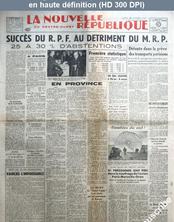 LA NOUVELLE REPUBLIQUE  numéro 965 du 20 octobre 1947