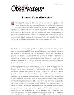 Strauss-Kahn démission!