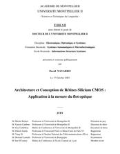 Architecture et Conception de Rétines Silicium CMOS : Application à la mesure du flot optique