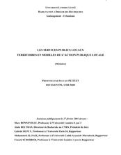 Les services publics locaux, territoires et modèles de l'action publique locale