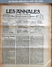 LES ANNALES POLITIQUES ET LITTERAIRES  numéro 1262 du 01 septembre 1907