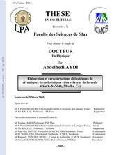 Elaboration et caractérisations diélectriques de céramiques ferroélectriques et/ou relaxeur de formule MSnO3-NaNbO3(M=Ba,Ca)