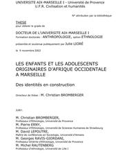 Les enfants et les adolescents originaires d'Afrique occidentale à Marseille. Des identités en construction
