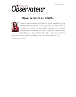 Royal renonce au Sénat...