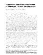 Introduction : l'expérience des femmes à l'épreuve du VIH dans les pays du Sud