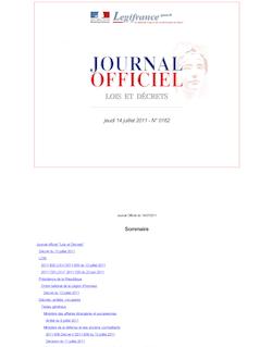 Journal officiel n°0162 du 14 juillet 2011