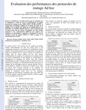 Evaluation des performances des protocoles de routage Ad hoc