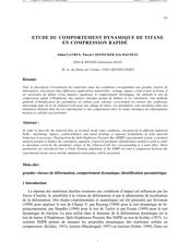 ETUDE DU COMPORTEMENT DYNAMIQUE DE TITANE EN COMPRESSION RAPIDE