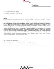 Le problème de l'eau - article ; n°1 ; vol.19, pg 31-54