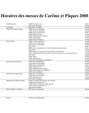 Horaires des messes de Carême et Pâques 2008