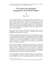 Une interview posthume (imaginaire) de Sir Karl Popper