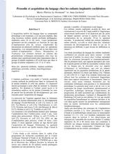 Prosodie et acquisition du langage chez les enfants implantés cochléaires