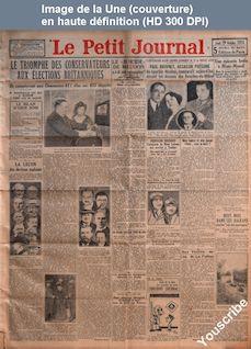 LE PETIT JOURNAL  numéro 25123 du 29 octobre 1931