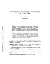 Démonstration géométrique du théorème de Lang-Néron