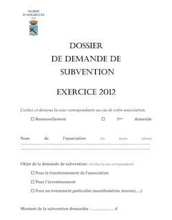 DOSSIER DE DEMANDE DE SUBVENTION EXERCICE 2012