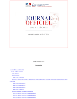 Journal officiel n°0229 du 2 octobre 2010