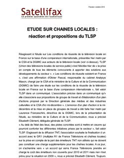 article du 22 octobre 2010 - ETUDE SUR CHAINES LOCALES : réaction et propositions du TLSP
