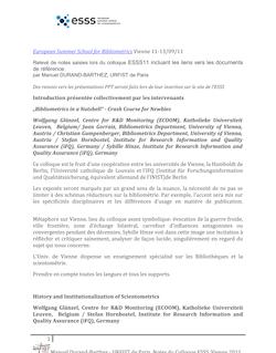 European Summer School for Bibliometrics Vienne 11-13/09/11 ...