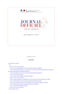 Journal officiel n°0167 du 21 juillet 2011