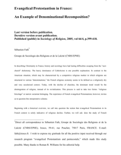 Evangelical Protestantism in France:An Example of Denominational Recomposition?