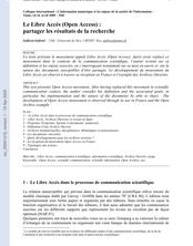 Le Libre Accès (Open Access) : partager les résultats de la recherche