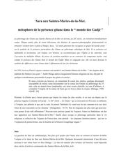 Sara aux Saintes-Maries-de-la-Mer. Métaphore de la présence gitane dans le monde des Gadjé