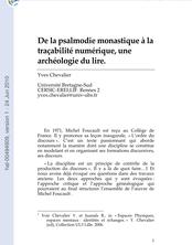 De la psalmodie monastique à la traçabilité numérique, une archéologie du lire.
