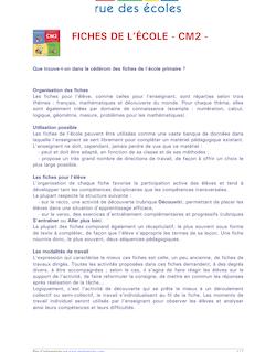 FICHES DE L'ÉCOLE - CM2 -
