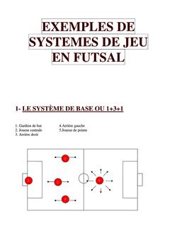 Exemples de systèmes de jeu en futsal