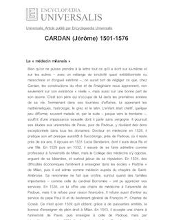 CARDAN (Jérôme) 1501-1576
