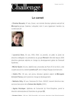 Challenges - Le carnet Mars 2010