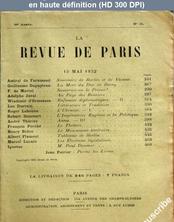 LA REVUE DE PARIS  numéro 10 du 15 mai 1932