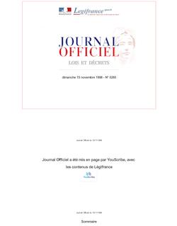 JORF n°265 du 15 novembre 1998